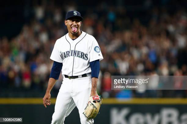 Edwin Diaz of the Seattle Mariners reacts to getting his 40th save of the season after the final out against the Houston Astros at Safeco Field on...