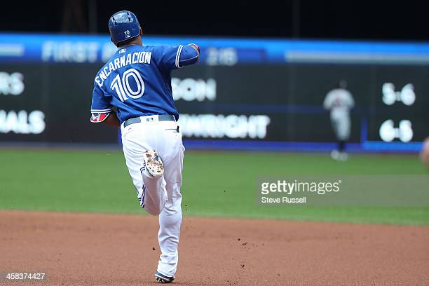 TORONTO ON JULY 2 Edwin Encarnacion hits a three run homer as the Toronto Blue Jays play the Cleveland Indians at the Rogers Centre in Toronto July 2...