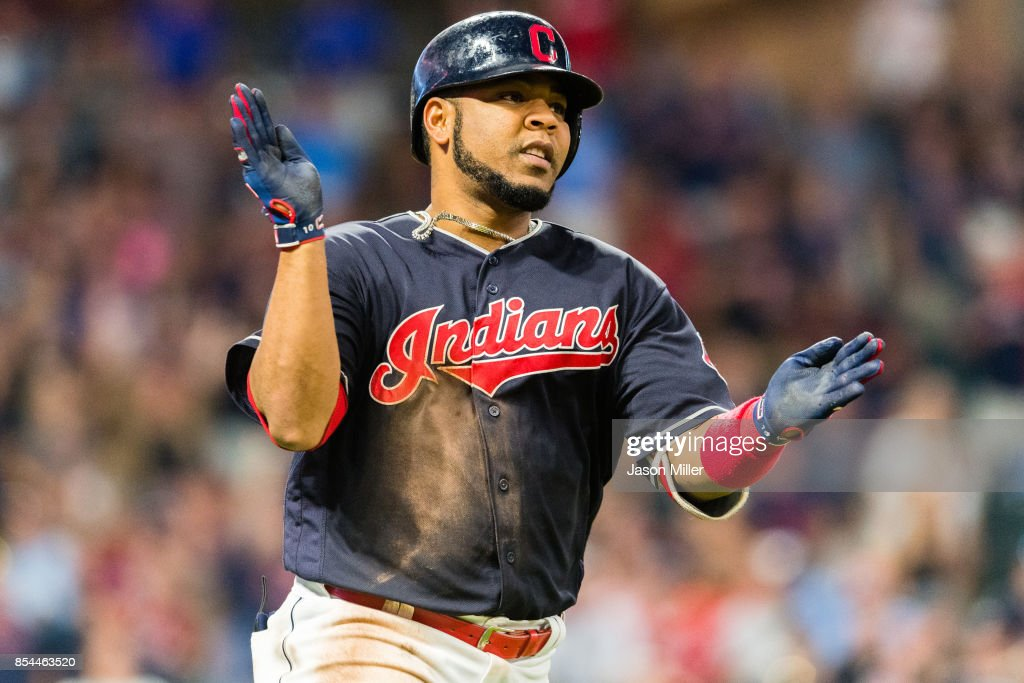Edwin Encarnacion #10 of the Cleveland Indians celebrates after hitting a solo home run during the seventh inning against the Minnesota Twins at Progressive Field on September 26, 2017 in Cleveland, Ohio.