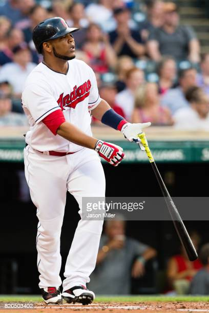 Edwin Encarnacion of the Cleveland Indians hits a solo home run during the second inning against the Toronto Blue Jays at Progressive Field on July...