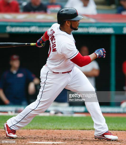 Edwin Encarnacion of the Cleveland Indians hits a two run double off Bruce Rondon of the Chicago White Sox during the sixth inning at Progressive...