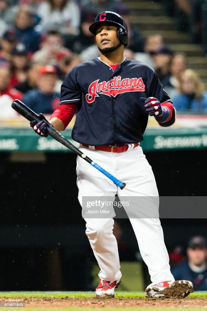 Edwin Encarnacion #10 of the Cleveland Indians reacts after striking out to end the eighth inning against the Seattle Mariners at Progressive Field on April 28, 2017 in Cleveland, Ohio. The Mariners defeated the Indians 3-1.