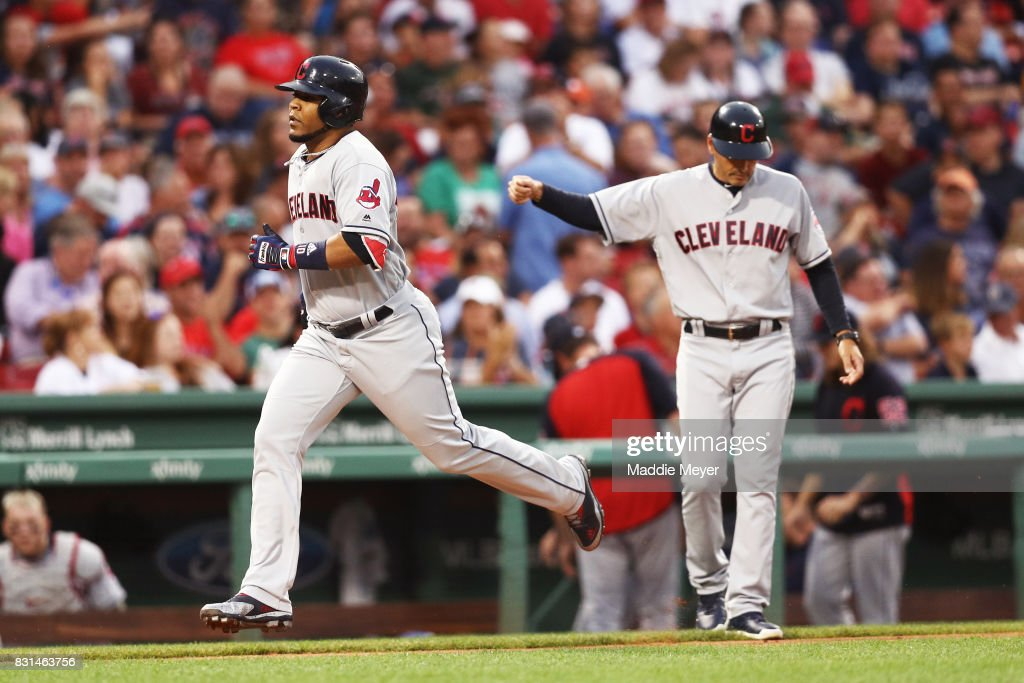Edwin Encarnacion #10 of the Cleveland Indians rounds the bases after hitting a two run home run against the Boston Red Sox during the fifth inning at Fenway Park on August 14, 2017 in Boston, Massachusetts.