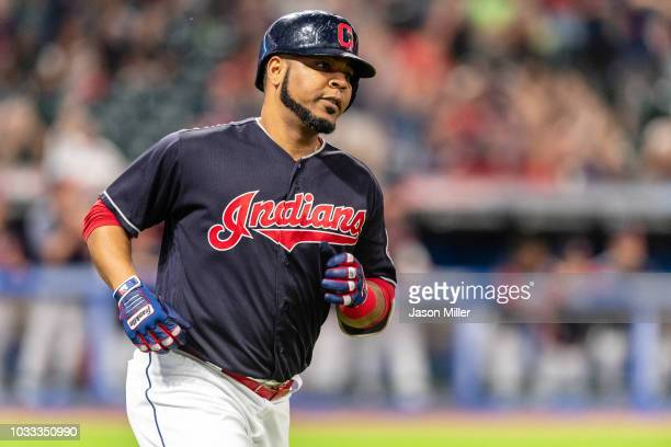 Edwin Encarnacion of the Cleveland Indians rounds the bases on a solo home run during the sixth inning against the Detroit Tigers at Progressive...