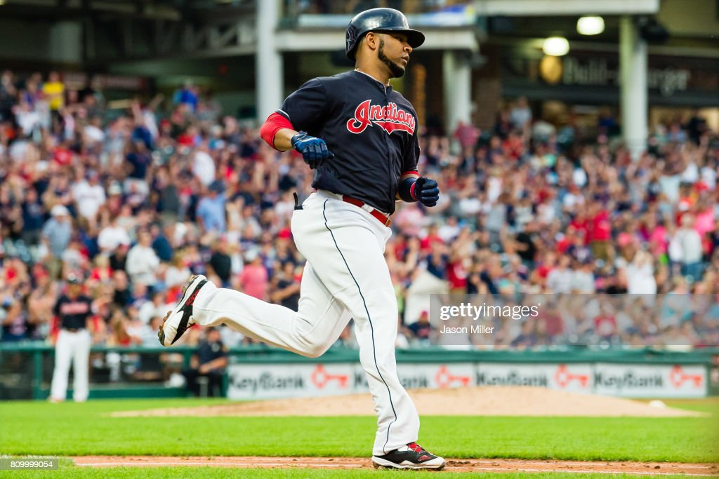 Edwin Encarnacion #10 of the Cleveland Indians rounds the bases on a solo home run during the fifth inning against the San Diego Padres at Progressive Field on JULY 6, 2017 in Cleveland, Ohio.
