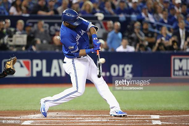 Edwin Encarnacion of the Toronto Blue Jays bats in the first inning against the Baltimore Orioles during the American League Wild Card game at Rogers...