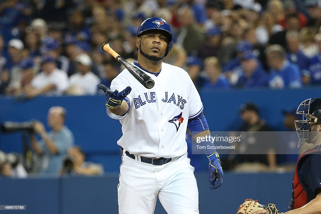 Edwin Encarnacion #10 of the Toronto Blue Jays bats in the seventh inning as his consecutive on-base streak is snapped during MLB game action against the Boston Red Sox on September 18, 2015 at Rogers Centre in Toronto, Ontario, Canada.
