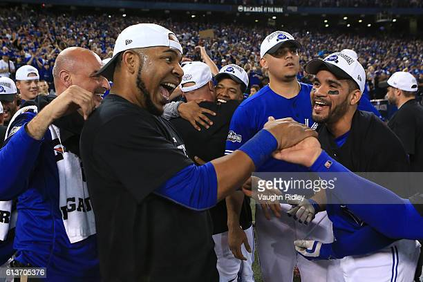 Edwin Encarnacion of the Toronto Blue Jays celebrates after the Toronto Blue Jays defeated the Texas Rangers 76 for game three of the American League...
