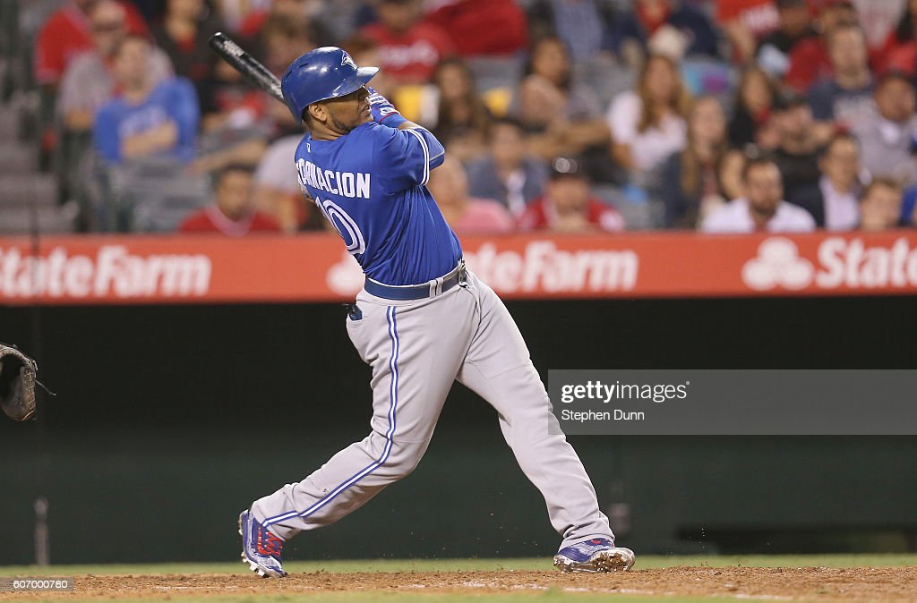 Edwin Encarnacion #10 of the Toronto Blue Jays hits a two run home run in the ninth inning against the Los Angeles Angels of Anaheim at Angel Stadium of Anaheim on September 16, 2016 in Anaheim, California.
