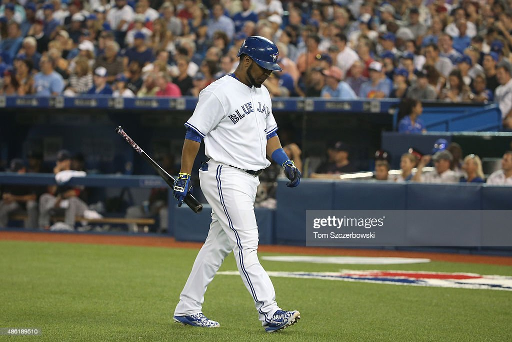 Edwin Encarnacion #10 of the Toronto Blue Jays reacts after lining out in the sixth inning, seeing his hitting streak came to an end, during MLB game action against the Cleveland Indians on September 1, 2015 at Rogers Centre in Toronto, Ontario, Canada.