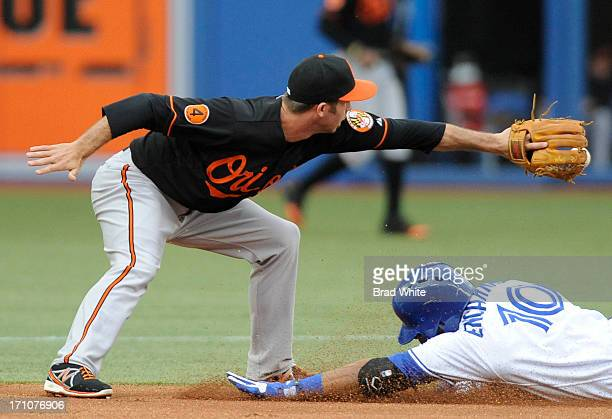 Edwin Encarnacion of the Toronto Blue Jays slides safely into second as JJ Hardy of the Baltimore Orioles covers the bag during MLB game action June...