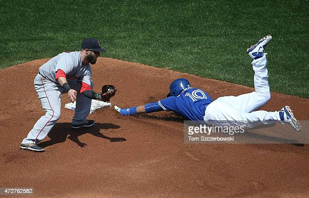 Edwin Encarnacion of the Toronto Blue Jays steals second base in the first inning during MLB game action as Dustin Pedroia of the Boston Red Sox...