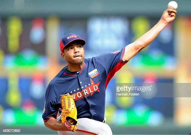 Edwin Escobar of the World Team during the SiriusXM AllStar Futures Game at Target Field on July 13 2014 in Minneapolis Minnesota