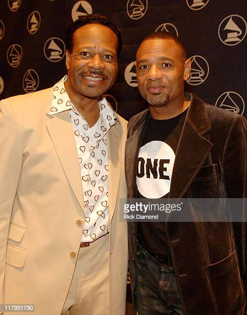 Edwin Hawkins and Kirk Whalum during GRAMMY Salute to Gospel Music at Millennium Biltmore Hotel in Los Angeles California United States