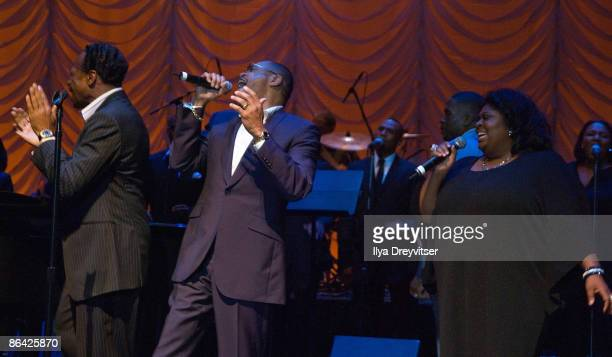 Edwin Hawkins Walter Hawkins and Kim Burrell perform for guests at GRAMMY Salute to Gospel Music at the Lincoln Theatre on June 18 2008 in Washington...