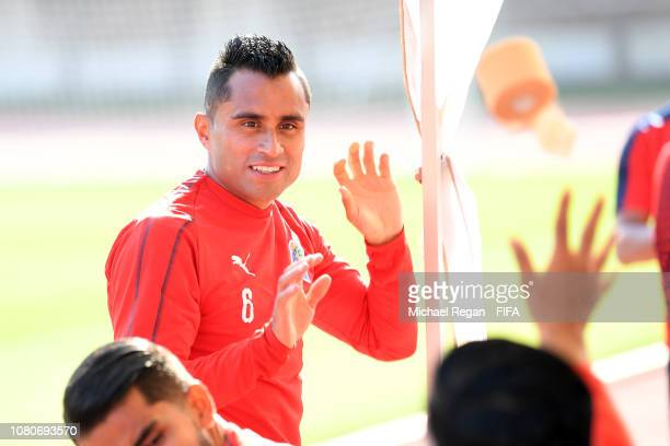 Edwin Hernandez looks on during the CD Guadalajara training session ahead of the FIFA Club World Cup UAE 2018 on December 11, 2018 in Al Ain, United...