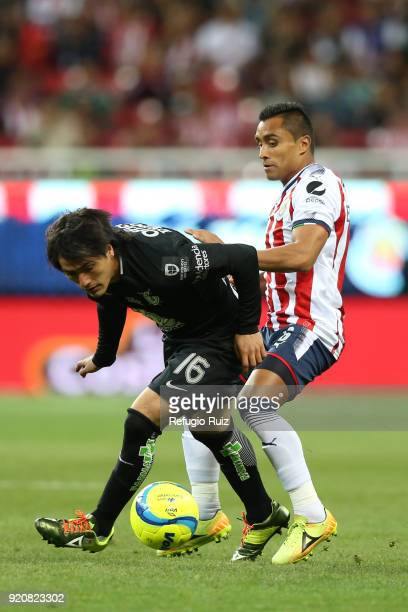 Edwin Hernandez of Chivas fights for the ball with Erick Gutierrez of Pachuca during the 8th round match between Chivas and Pachuca as part of the...