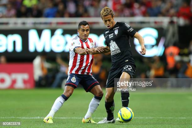 Edwin Hernandez of Chivas fights for the ball with Keisuke Honda of Pachuca during on the 8th round match between Chivas and Pachuca as part of the...