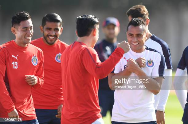 Edwin Hernandez shares a laugh with team mates during the CD Guadalajara training session ahead of the FIFA Club World Cup UAE 2018 on December 11,...