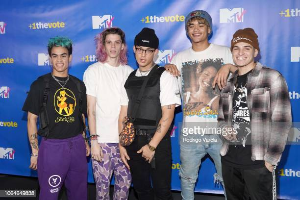 Edwin Honoret Austin Poter Brandon Arrega Zion Kuwonu and Nick Mara of Prettymuch attend MTV 1 The Vote 'Election Afterparty' at Miami Dade College...