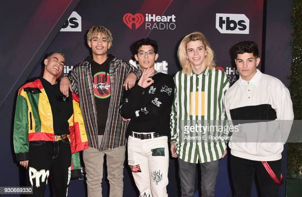 Edwin Honoret Zion Kuwonu Brandon Arreaga Austin Porter and Nick Mara of PrettyMuch arrive at the 2018 iHeartRadio Music Awards which broadcasted...
