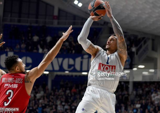 Edwin Jackson #1 of Buducnost Voli Podgorica competes with Nigel WilliamsGoss #3 of Olympiacos Piraeus during the 2018/2019 Turkish Airlines...