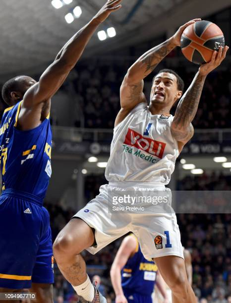 Edwin Jackson #1 of Buducnost Voli Podgorica in action during the 2018/2019 Turkish Airlines EuroLeague Regular Season Round 22 game between...