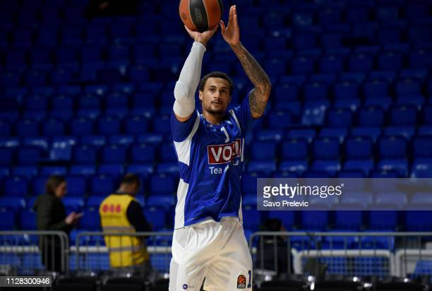Edwin Jackson #1 of Buducnost Voli Podgorica warm up before the 2018/2019 Turkish Airlines EuroLeague Regular Season Round 24 game between Buducnost...