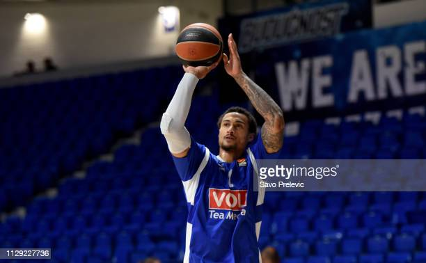 Edwin Jackson #1 of Buducnost Voli Podgorica warm up before the 2018/2019 Turkish Airlines EuroLeague Regular Season Round 25 game between Buducnost...
