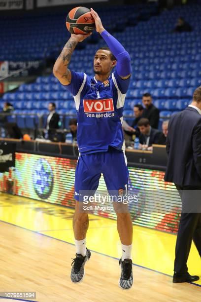 Edwin Jackson #1 of Buducnost Voli Podgorica warming up during the 2018/2019 Turkish Airlines EuroLeague Regular Season Round 17 game between Maccabi...