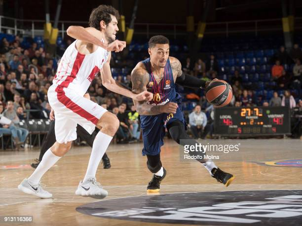 Edwin Jackson #10 of FC Barcelona Lassa in action during the 2017/2018 Turkish Airlines EuroLeague Regular Season Round 21 game between FC Barcelona...