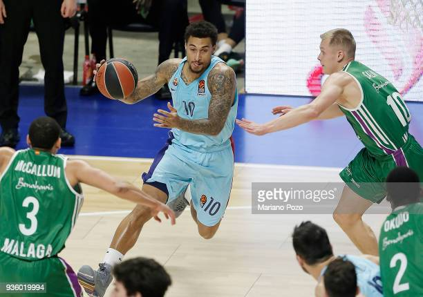 Edwin Jackson #10 of FC Barcelona Lassa in action during the 2017/2018 Turkish Airlines EuroLeague Regular Season Round 27 game between Unicaja...