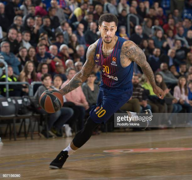 Edwin Jackson #10 of FC Barcelona Lassa in action during the 2017/2018 Turkish Airlines EuroLeague Regular Season Round 28 game between FC Barcelona...