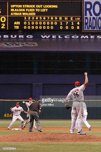 Edwin Jackson of the Arizona Diamondbacks celebrates pitching a nohitter against the Tampa Bay Rays on June 25 2010 in St Petersburg Florida