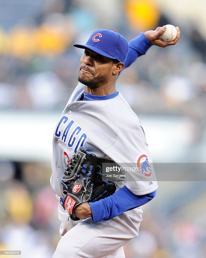 Edwin Jackson #36 of the Chicago Cubs delivers a first-inning pitch against the Pittsburgh Pirates on April 3, 2013 at PNC Park in Pittsburgh, Pennsylvania.