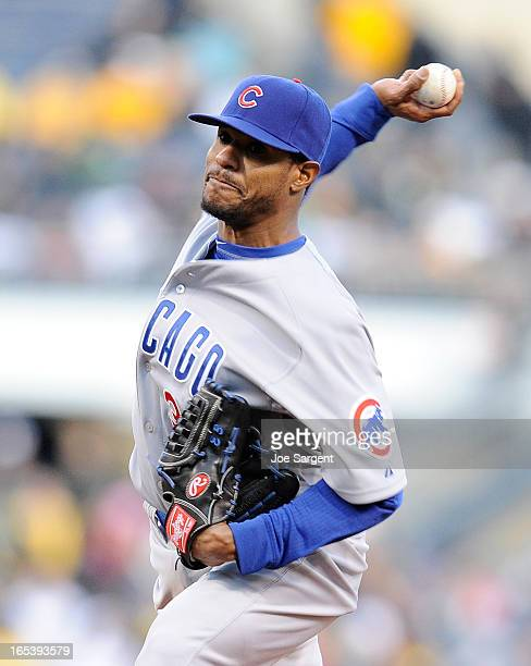 Edwin Jackson of the Chicago Cubs delivers a firstinning pitch against the Pittsburgh Pirates on April 3 2013 at PNC Park in Pittsburgh Pennsylvania
