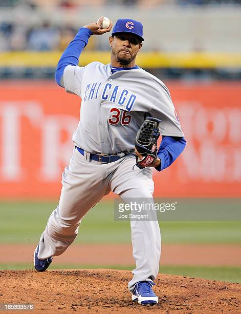 Edwin Jackson of the Chicago Cubs delivers a secondinning pitch against the Pittsburgh Pirates on April 3 2013 at PNC Park in Pittsburgh Pennsylvania