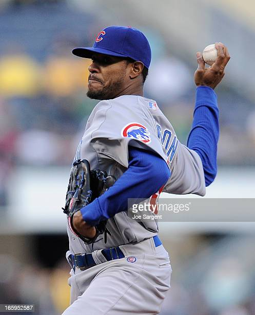 Edwin Jackson of the Chicago Cubs pitches against the Pittsburgh Pirates on April 3 2013 at PNC Park in Pittsburgh Pennsylvania