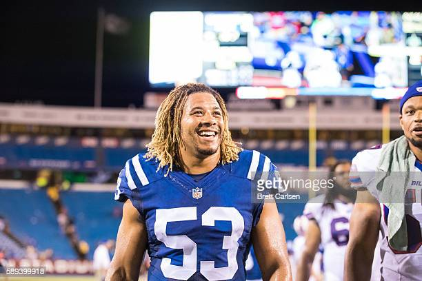 Edwin Jackson of the Indianapolis Colts leaves the field after the game against the Buffalo Bills on August 13 2016 at Ralph Wilson Stadium in...
