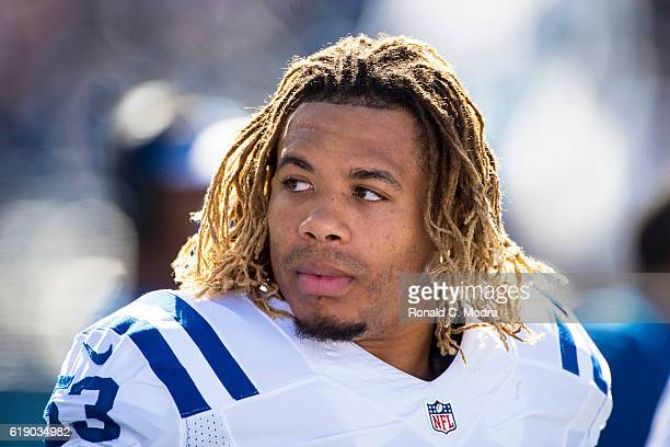 Edwin Jackson of the Indianapolis Colts looks on during a NFL game against the Tennessee Titans at Nissan Stadium on October 23 2016 in Nashville...