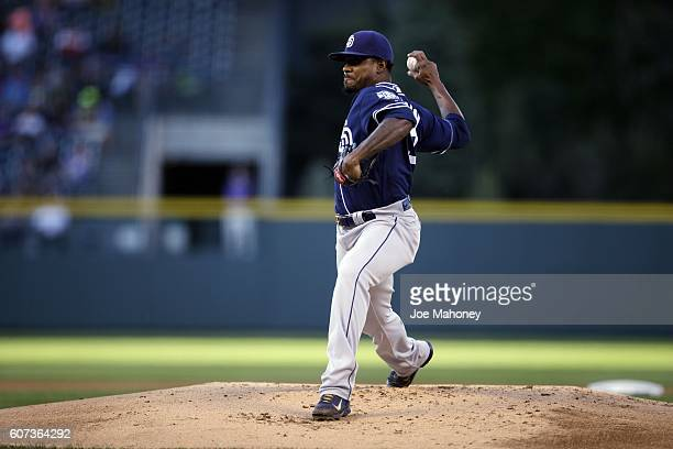 Edwin Jackson of the San Diego Padres delivers a pitch against the Colorado Rockies in the first inning of a baseball game at Coors Field on...
