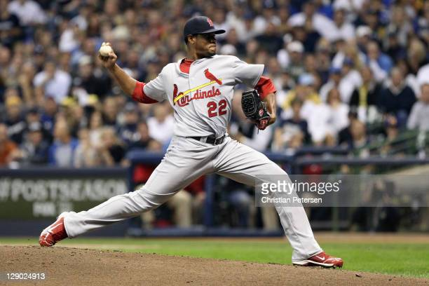 Edwin Jackson of the St. Louis Cardinals throws a pitch against the Milwaukee Brewers during Game Two of the National League Championship Series at...
