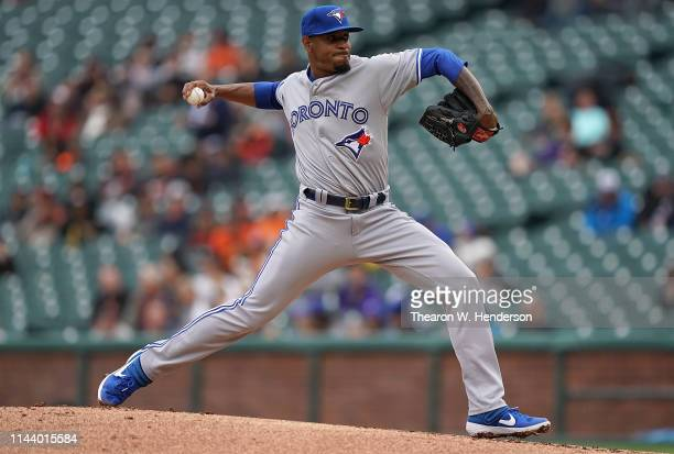 Edwin Jackson of the Toronto Blue Jays pitches against the San Francisco Giants in the bottom of the first inning of a Major League Baseball game at...