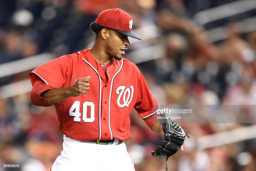 Edwin Jackson #40 of the Washington Nationals celebrates a out in the seventh inning during game two of a doubleheader against the Colorado Rockies at Nationals Park on July 30, 2017 in Washington, DC.