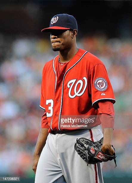 Edwin Jackson of the Washington Nationals in action against the Baltimore Orioles during an interleague game at Oriole Park at Camden Yards on June...