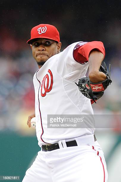 Edwin Jackson of the Washington Nationals in action against the Atlanta Braves at Nationals Park on July 21 2012 in Washington DC