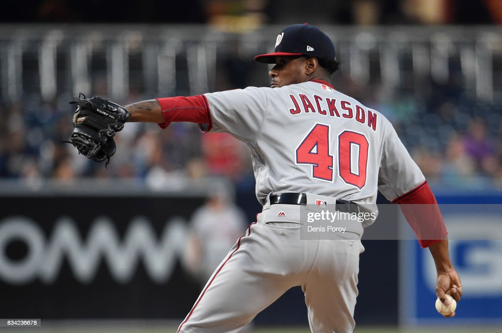 Edwin Jackson #40 of the Washington Nationals pitches during the first inning of a baseball game against the San Diego Padres at PETCO Park on August 17, 2017 in San Diego, California.