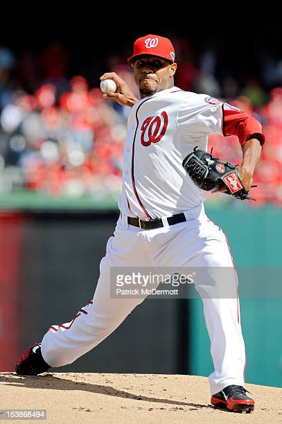 Edwin Jackson of the Washington Nationals pitches in the first inning against the St Louis Cardinals during Game Three of the National League...
