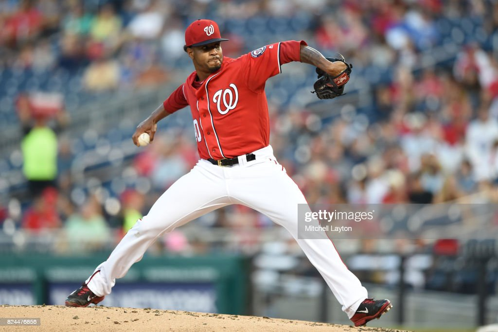 Edwin Jackson #40 of the Washington Nationals pitches in the second inning during game two of a doubleheader of a baseball game against the Colorado Rockies at Nationals Park on July 30, 2017 in Washington, DC.