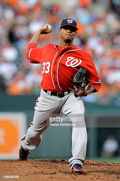 Edwin Jackson of the Washington Nationals throws a pitch against the Baltimore Orioles at Oriole Park at Camden Yards on June 23 2012 in Baltimore...